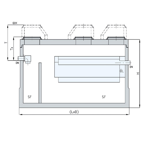 The separator in oval design with enlarged sludge trap.